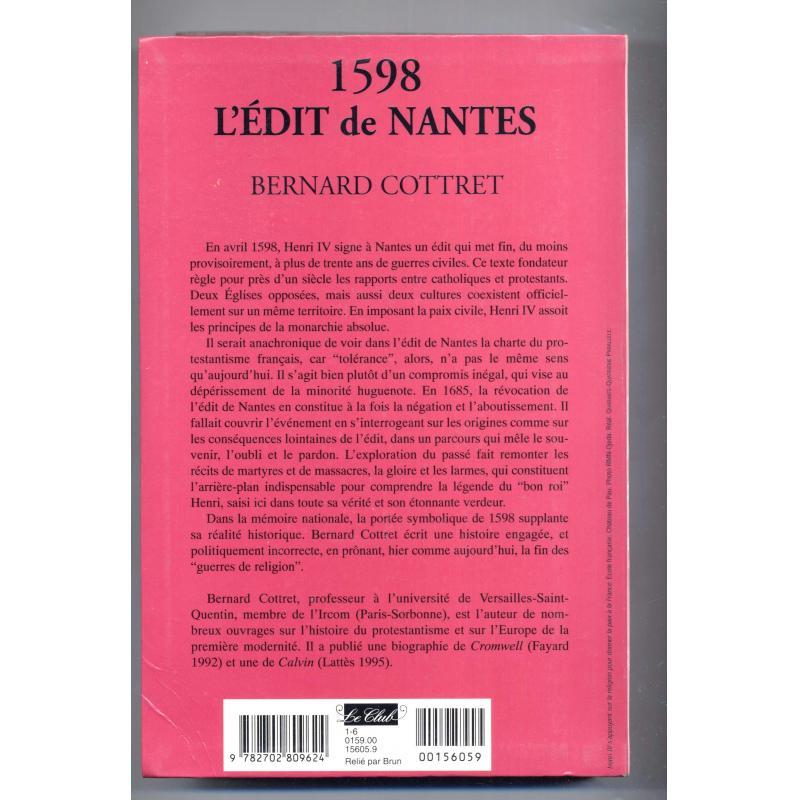 1598 L'Edit de Nantes