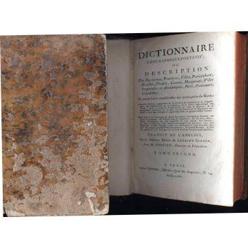 2 tomes Dictionnaire géographique portatif ou description des royaumes, province