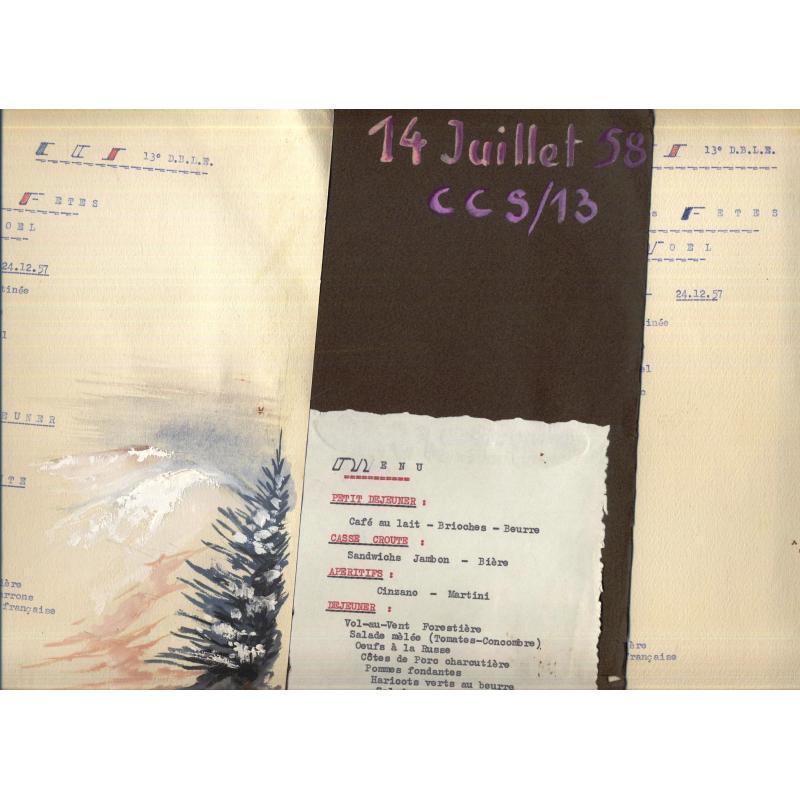 3 menus de la CCS de la 13e DBLE Noel 1957 et 14 juillet 1958
