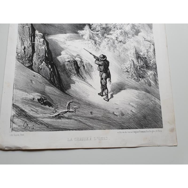 Affiche de Gustave Doré  la chasse à l'ours