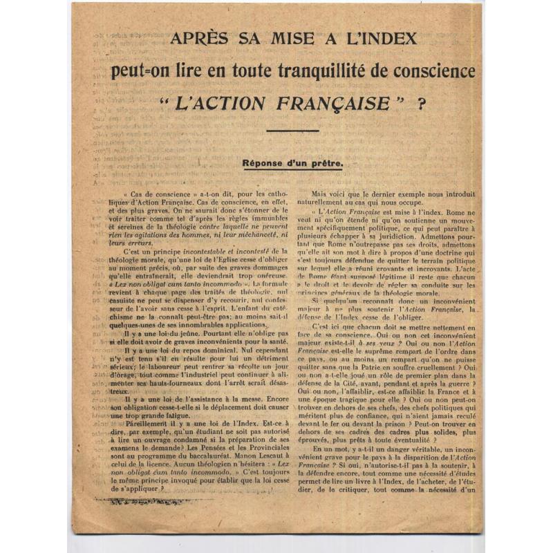 Apres sa mise a l'index peut-on lire l'action francaise reponse d'un pretre