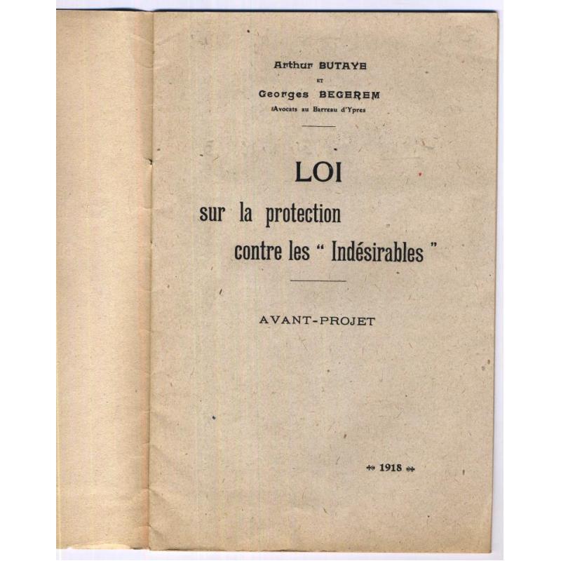 avant-projet de loi sur la protection contre les indesirables Belgique 1918
