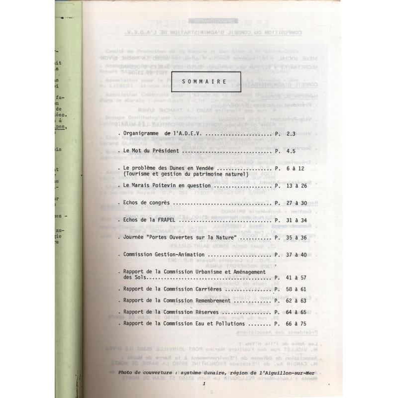 Bulletin annuel 1984 de l'association de defense de l'environnement en vendee