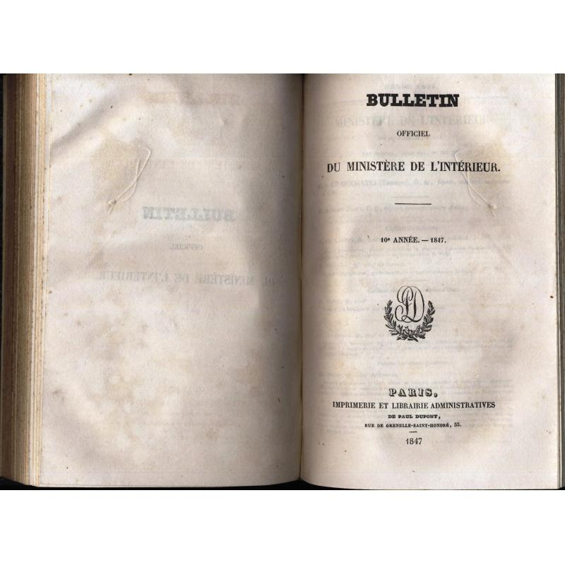 Bulletin officiel du ministere de l'intérieur 1846-1847