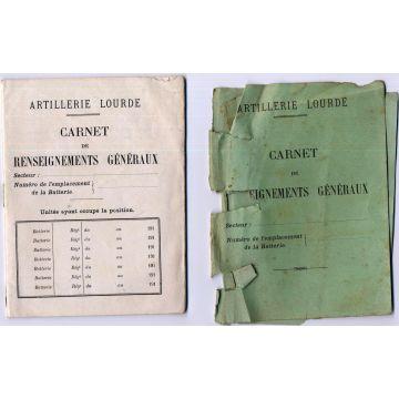 Carnet de renseignements généraux artillerie lourde