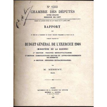 Chambre des deputes 1907 rapport pour le budget general de l'exercice Guerre