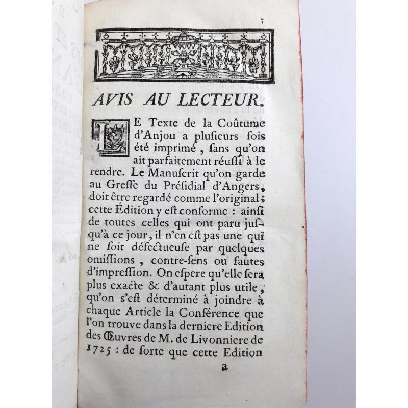 Coustume du pays et duché d'Anjou, conferee avec les coustumes voisines