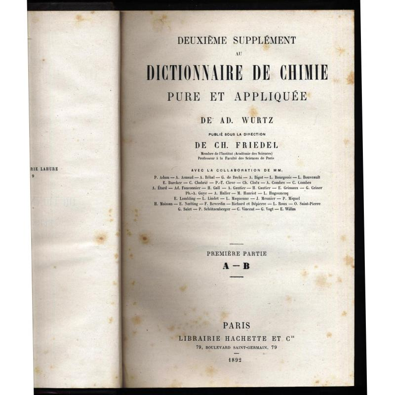 Dictionnaire de chimie pure et appliquee 2eme supplement en 7 volumes