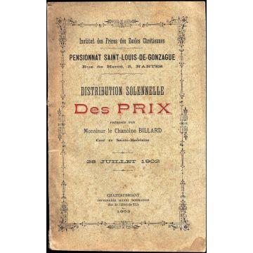 Distribution solennelle des prix Pensionnat Saint-Louis Gonzague Nantes 1902