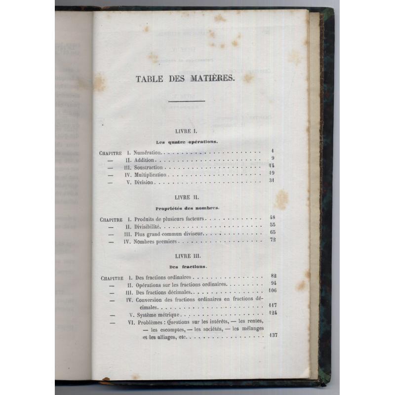 Elements d'arithmetique enseignement scientifique des lycées 1868