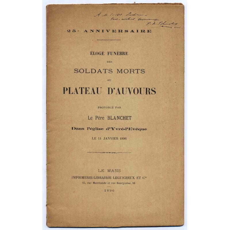 Eloge funèbre des soldats morts au plateau d'Auvours (guerre de 70)