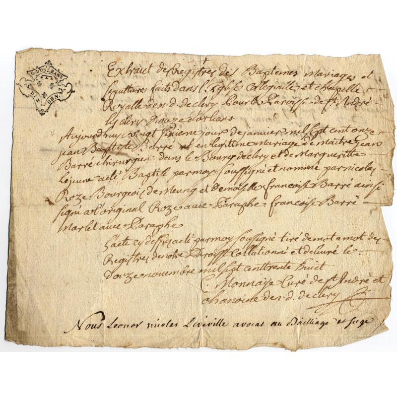 Extrait de baptème de Jean-Baptiste Barré à la collégiale de Clery (centre)
