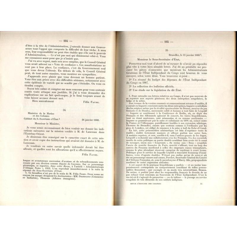 Extrait de la revue d'histoire des colonies correspondance de Felix Faure