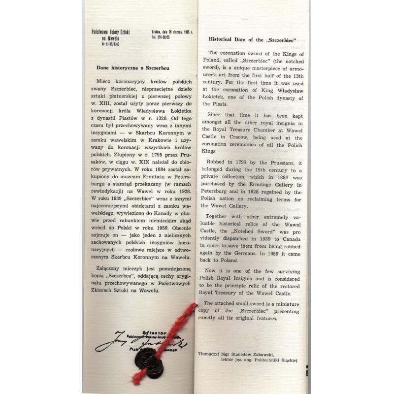 Glaive ébréché Szczerbiec Pologne coupe papier Millenium 966-1966 reproduction