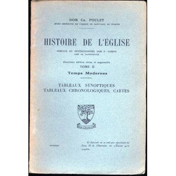 Histoire de l'Eglise tome 2 Temps modernes tableaux synoptiques tableaux