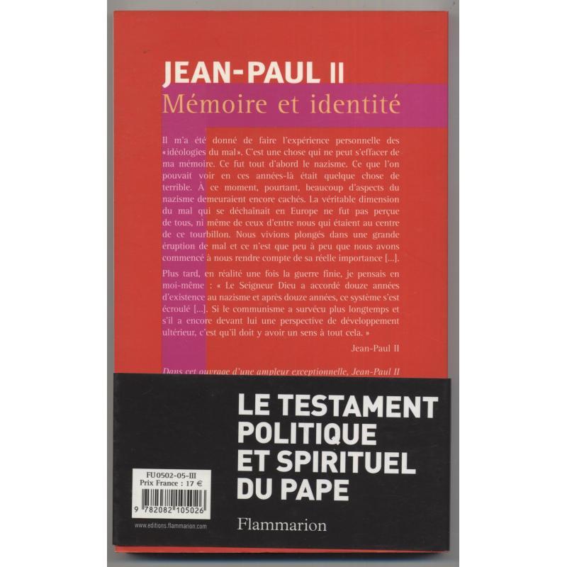 Jean-Paul II Mémoire et identité