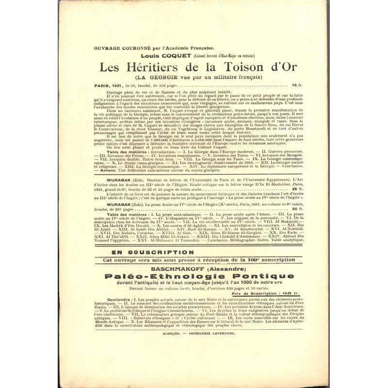 L'ethnographie Bulletin semestriel avec table des n° 1 à 24 de 1931 PORT GRATUIT