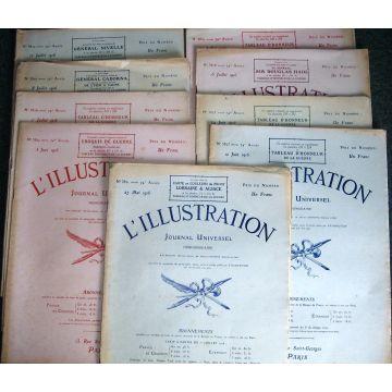 L'Illustration 10 numéros 3821-3823 et 3825-3830 (1916)