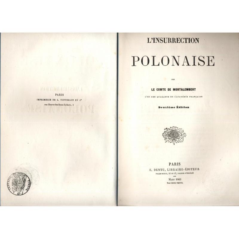 L'insurrection polonaise par le Comte de Montalembert