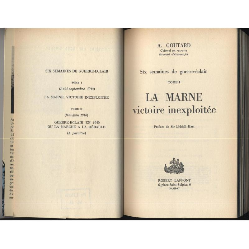 La Marne victoire inexploitée tome 1 tampon ex-libris de Michel Debré