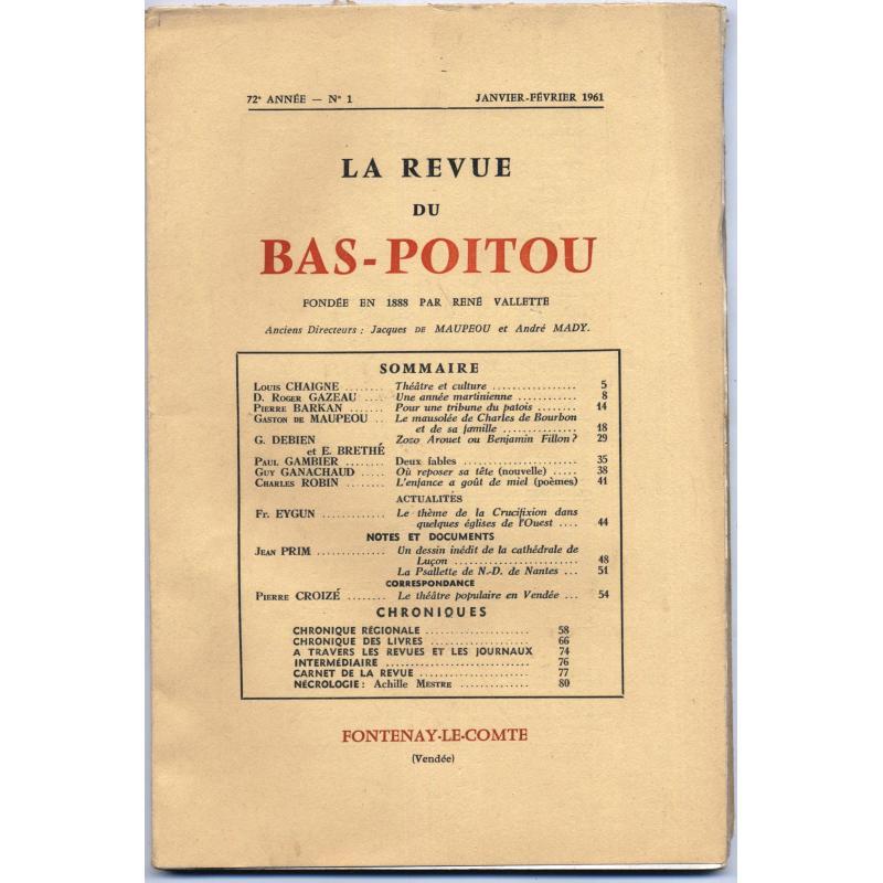 La Revue du Bas-Poitou et des provinces de l'ouest les 6 numéros 1961