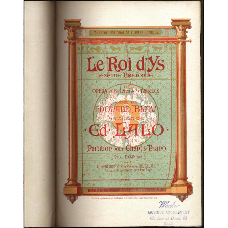 Le Roi d'Ys legende bretonne, Partition pour chant et piano