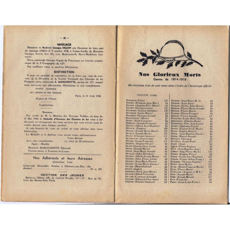 Les cahiers des régiments fontenaisiens 137è 337è 84è 284è RI n°17 et 18 1940