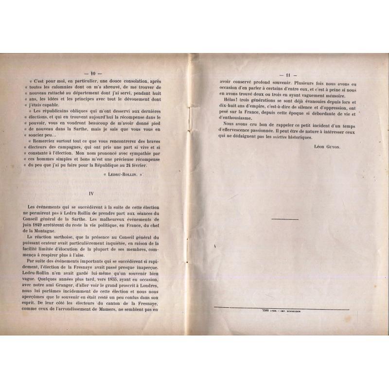 Les elections et Ledru-Rollin dans la Sarthe en 1848 extrait de la Révolution de