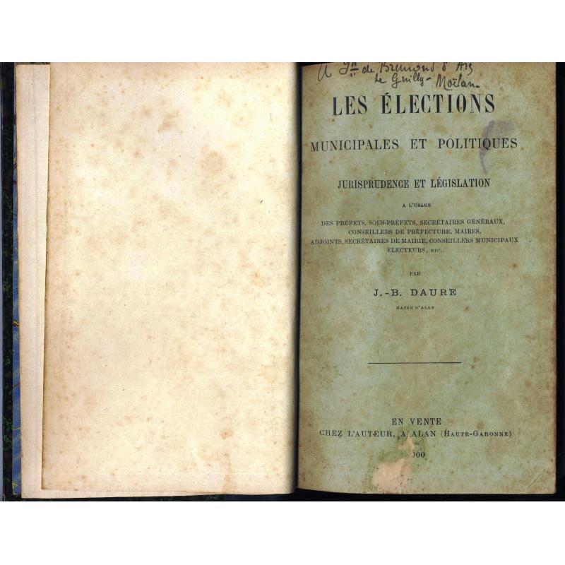 Les elections municipales et politiques Jurisprudence et legislation