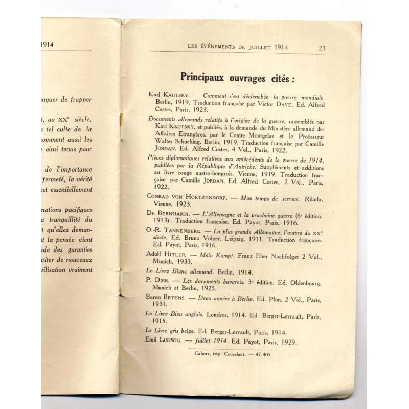Les evenements de juillet 1914