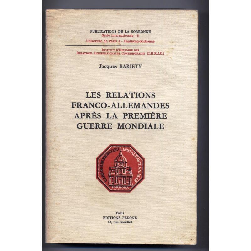 Les relations franco-allemandes après la première guerre mondiale ENVOI a DEBRE
