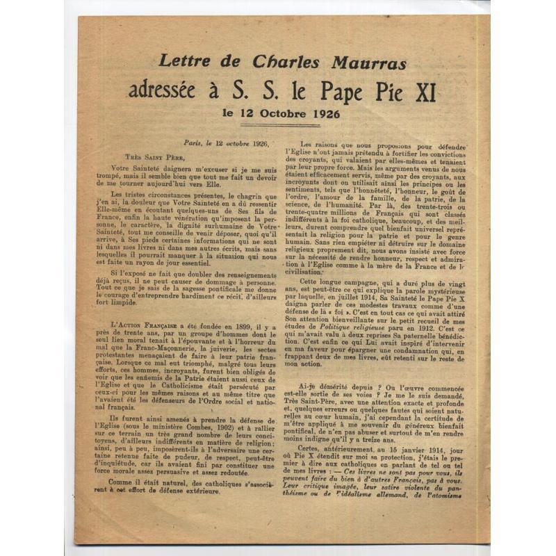 Lettre de Charles Maurras adressee à S.S. le Pape Pie XI le 12 octobre 1926
