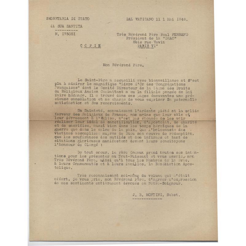 Livre d'or des congrégations francaises 1939-1945 + lettre du Vatican 1948