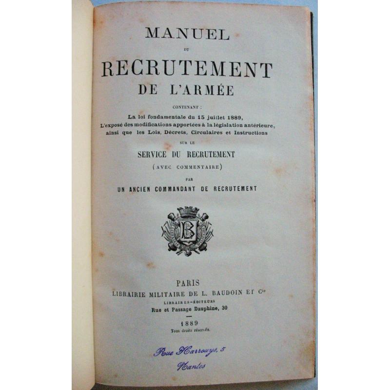 Manuel de recrutement de l'armée 1899