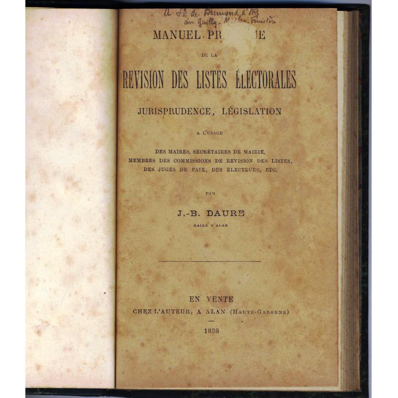 Manuel pratique de la revision des listes electorales 1898
