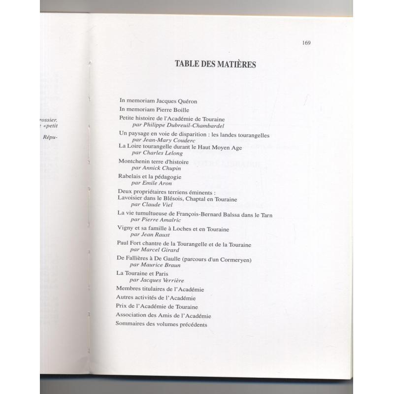 Mémoires 1995 Académie des Sciences, Arts & Belles Lettres de Touraine