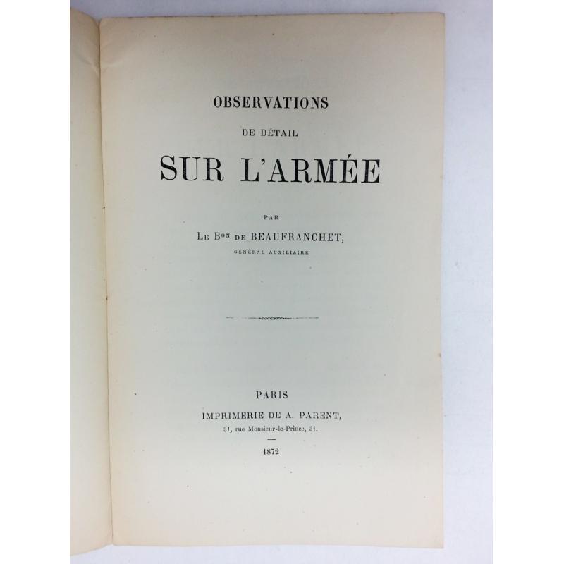 Observations de detail sur l'armée 1872