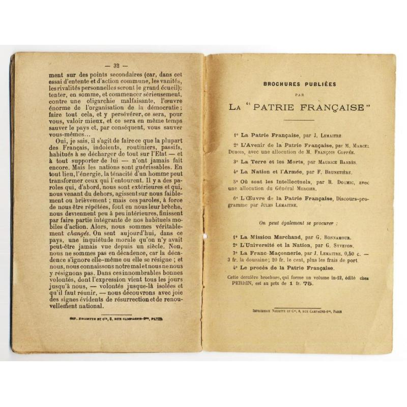Oeuvre de la patrie francaise discours de Jules Lemaitre 1899
