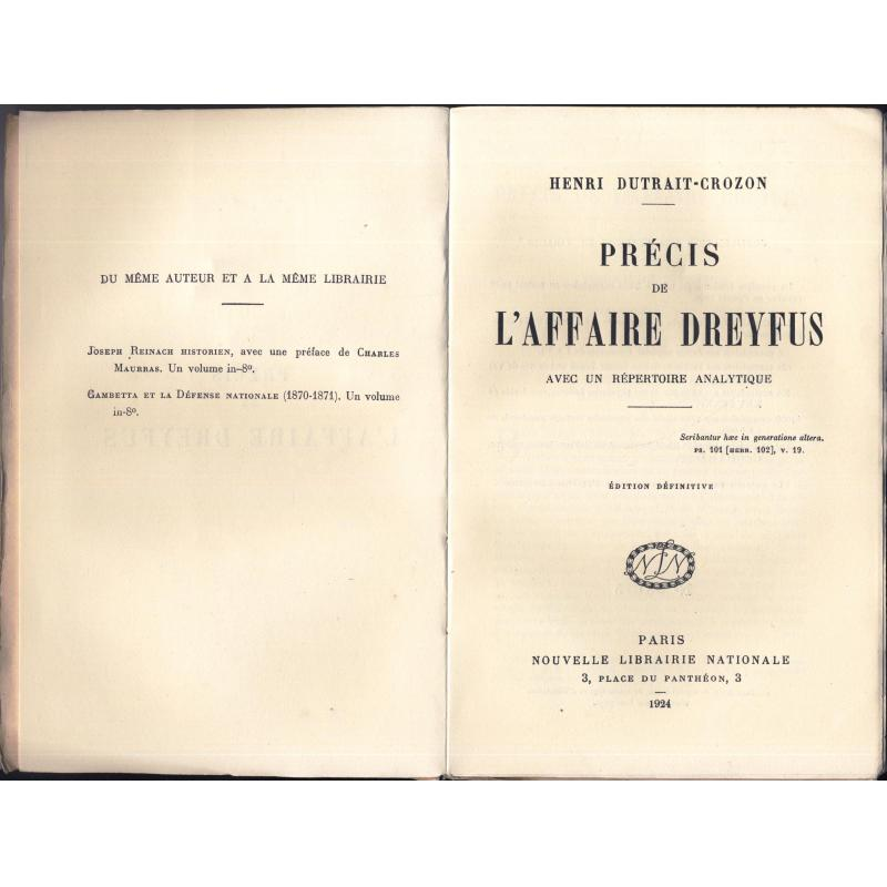 Precis de l'affaire Dreyfus Edition définitive