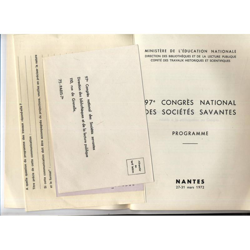 Programme 97e congres national des societés savantes Nantes