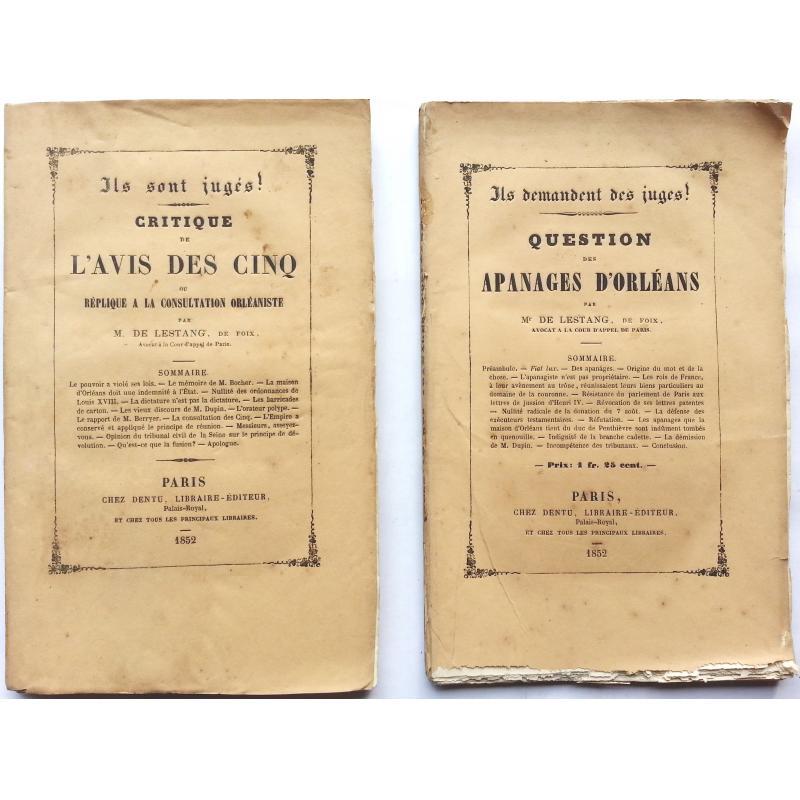 Question des apanages d'Orléans + Critique de l'avis des cinq ou réplique à la