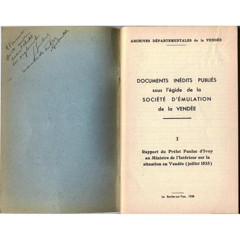 Rapport du préfet Paulze d'Ivoy au Ministre de l'Intérieur situation Vendée 1833