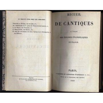 Recueil de cantiques a l'usage des eglises evangeliques de France