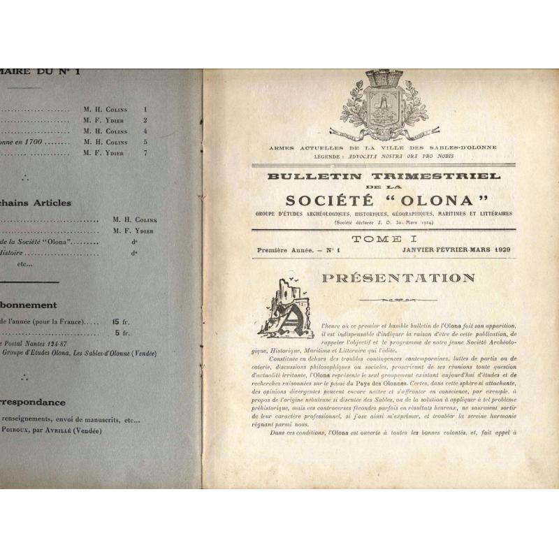 Reliure Bulletin trimestriel de la société Olona 1929-1938