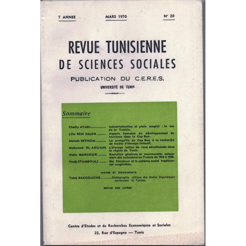Revue tunisienne de sciences sociales n°20