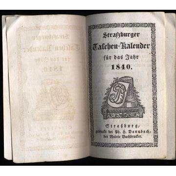 Strasburger Taschen-Kalender fur das Jahr 1840 en ALLEMAND