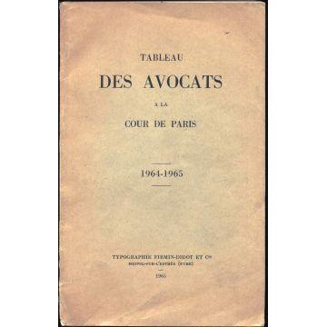 Tableau des avocats à la cour de Paris 1964-1965