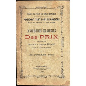 VENDU Distribution solennelle des prix Pensionnat Saint-Louis Gonzague 1902