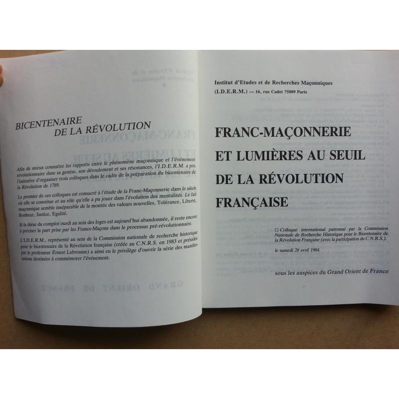 VENDU Franc Maconnerie et lumières au seuil de la revolution française colloq 84