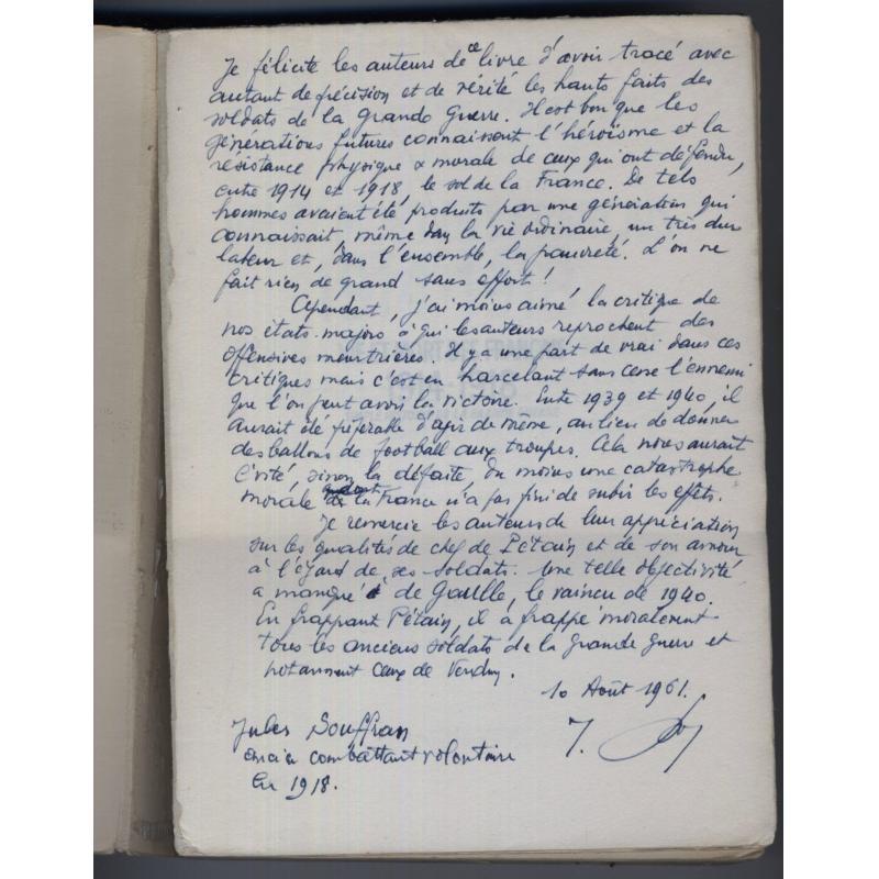 Vie et mort des francais 1914-1918 ENVOI de SOUFFRAN